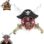WarFoam Scary Pirate Skull Crossed Swords Hat Mask For Cosplay Halloween Masquerade
