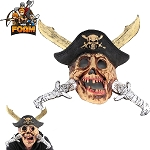 WarFoam Pirate Treasure Skull Crossed Swords Hat Mask For Cosplay Halloween Masquerade