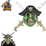 WarFoam Zombie Skull Pirate Crossed Swords Hat Mask For Cosplay Halloween Masquerade