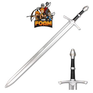 "WarFoam 43"" Medieval Foam Padded Sword with Metallic Chrome Finish on Blade"