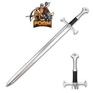 Medieval Foam Sword with Metallic Chrome Finish on Blade Cosplay Costume WarFoam