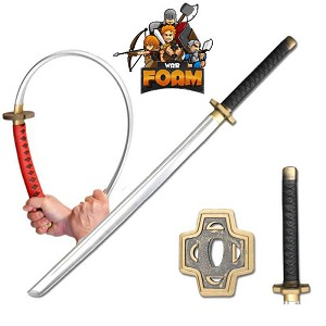 WarFoam  Fantasy Samurai Katana Foam Sword Chrome Finish Blade Cosplay Costume