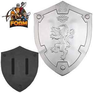 WarFoam Silver Rampant Lion Bravery Medieval Battle Foam Cosplay Shield